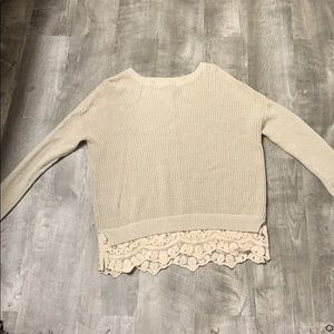💕 Cream Sweater with Lace 💕